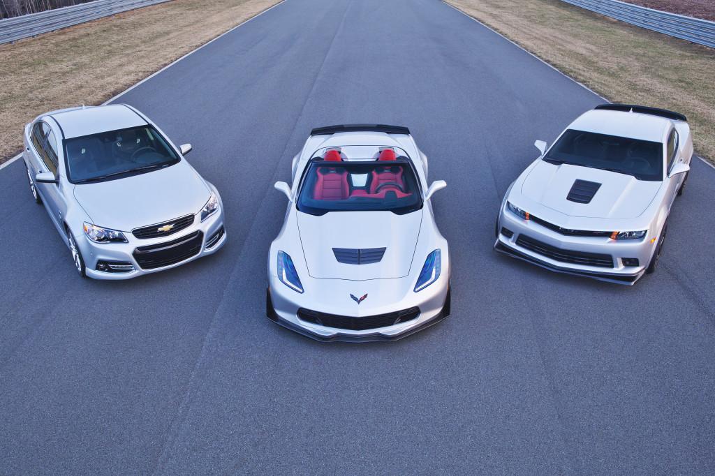 (L to R) The Chevrolet SS sedan, Corvette Z06, and Camaro Z/28