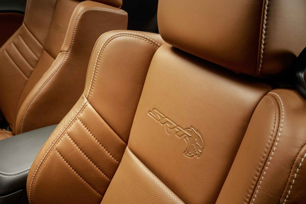 New for 2017, SRT Hellcat logo is embossed onto seat backs of th